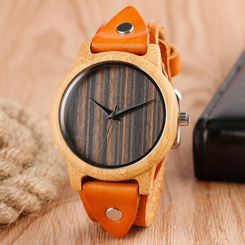 Bamboo Wood Watch w Genuine Leather Wristband