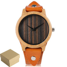 Load image into Gallery viewer, Bamboo Wood Watch w Genuine Leather Wristband
