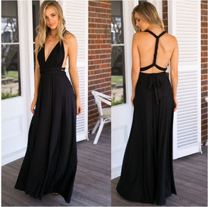 RAISEVERN Bandage Sexy Jumpsuit Boho Rompers Women Jumpsuit 2019 Elegant Summer Jumpsuit Multi Way Wear Wrap Wedding Party