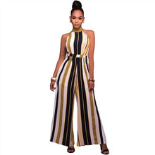 Load image into Gallery viewer, Vintage Striped Wide Leg Romper Women Jumpsuits Sexy Halter Lady Bodysuits Elegant OL Playsuits Street Style Plus Size Overalls