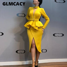 Load image into Gallery viewer, Women Long Sleeve Mid-Calf Falbala Asymmetrical Standard-Waist Dress Office Lady Sheath Solid Knee-Length O-Neck Dress