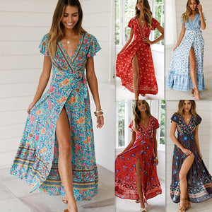 Casual Behemian Women Summer Dress 2019 Sexy Floral Printed Maxi Dress Irregular Sashes Long Boho Vestidos Chiffon Vintage Robe