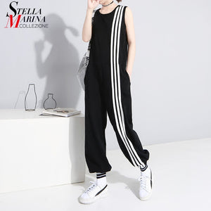 2019 Korean Style Women Summer Long Black Jumpsuit Romper Sleeveless Striped Lady Casual Loose Overalls Jump Suit Playsuit 3644