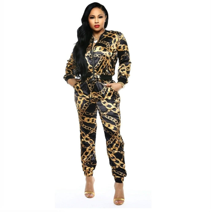2019 New Women Chain Printed Zip Up Turn Down Neck Jackets Pencil Long Pants Suits Two Piece Set Tracksuit Outfit GLX9108