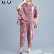 Load image into Gallery viewer, TUHAO 2019 Sets Womens Outfits Large Size Women's Plaid Suit Summe Elastic Waist Plaid Calf-Length Pants Two Piece Suit LZ273