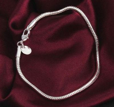 925 Sterling Silver Lovely Snake Chain Bracelet 3MM