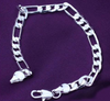 925 Sterling Silver Cute Unisex Figaro Bracelet 8MM