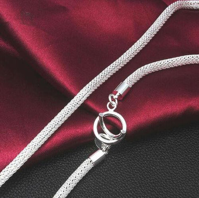 925 Silver Large Width Knitting Necklace