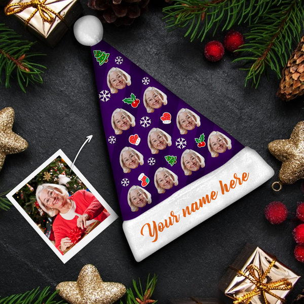 custom face orange text santa hat