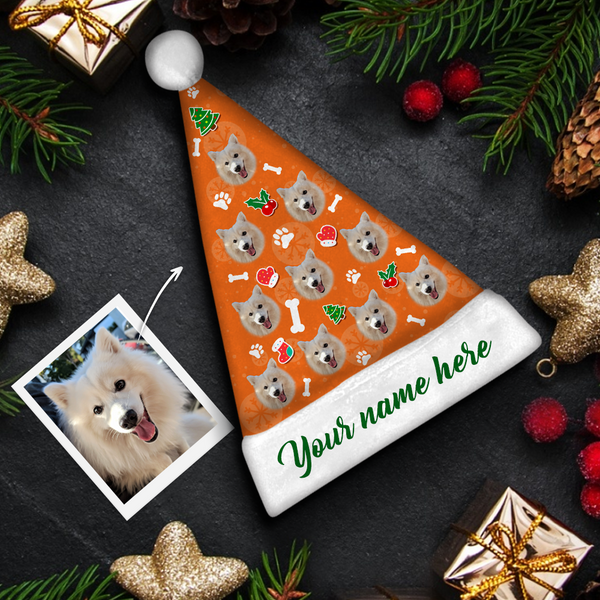 custom Dog Face green text Colorful Santa Hat
