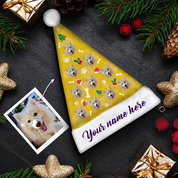 custom Dog Face purple text Colorful Santa Hat