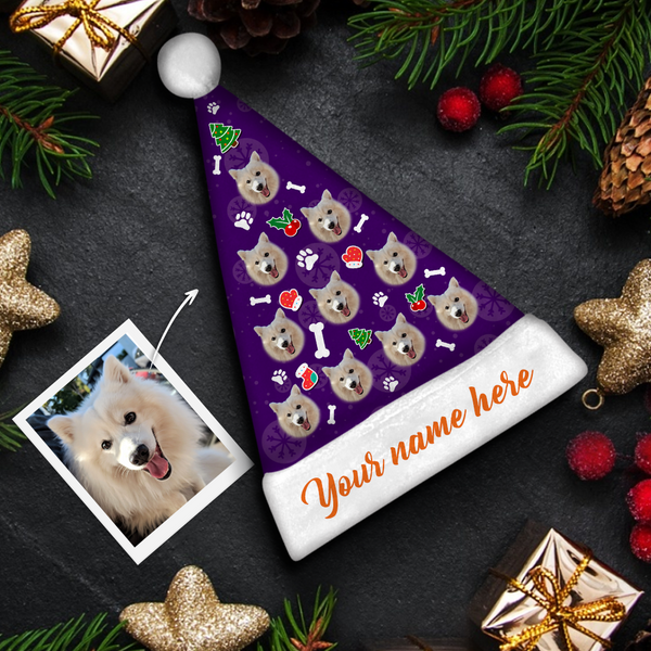 custom Dog Face orange text Colorful Santa Hat