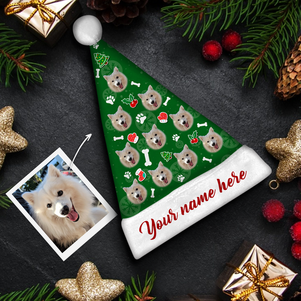 custom Dog Face red text Colorful Santa Hat