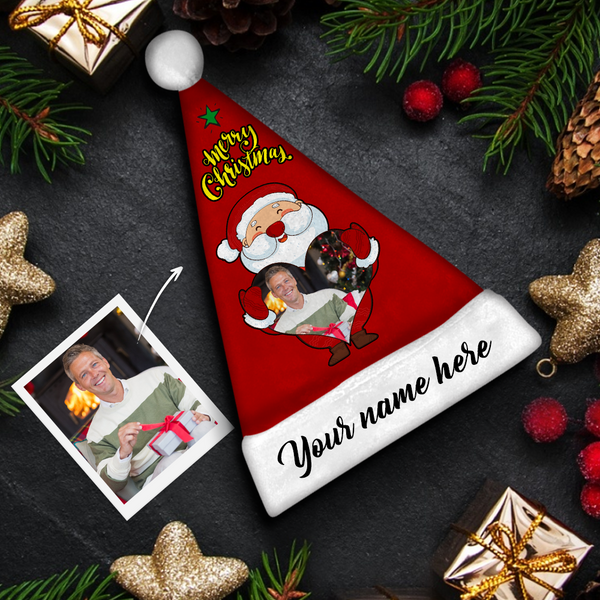 Custom Santa Claus & Black Text Colorful Santa Hat For Man