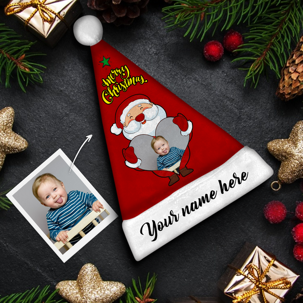 Custom Santa Claus & Black Text Colorful Santa Hat For Kid