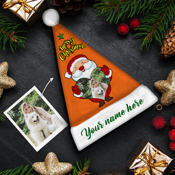 custom Santa Claus green text Colorful Santa Hat