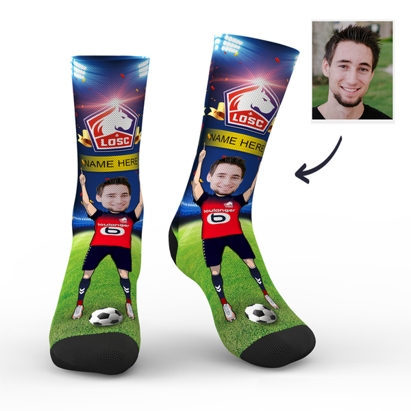 sc paris lille osc superfans with your text custom photo socks