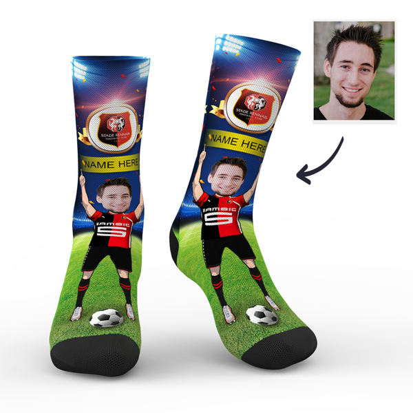 sc paris stade rennais superfans with your text custom photo socks