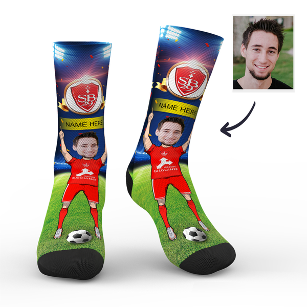 sc stade brestois 29 superfans with your text custom photo socks