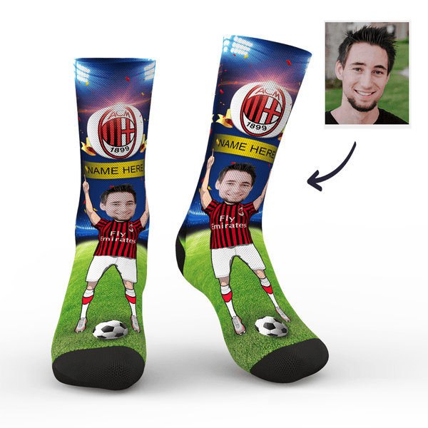sc paris a c milan superfans with your text custom photo socks