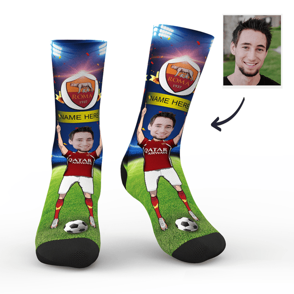sc paris a s roma superfans with your text custom photo socks