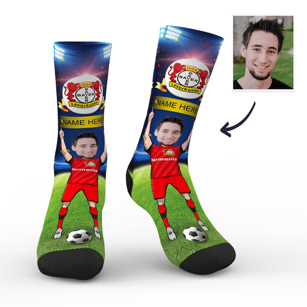 bayer 4 leverkusen superfans with your text custom photo socks
