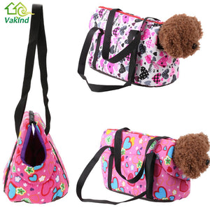 Floral Print Dog Travel Carrier (Canvas Shoulder Bag)