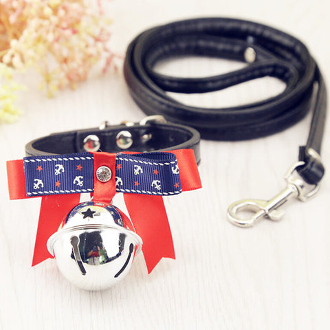 Small PU leather Dog collar and leash set
