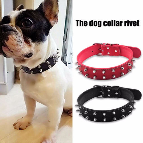 Adjustable Rivet Spiked Studded Durable PU Leather Collar