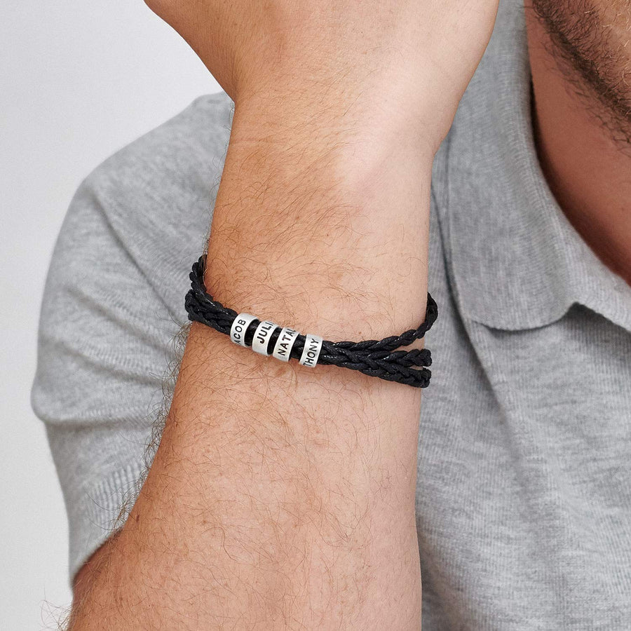 Personalized Men Braid Black Bracelet