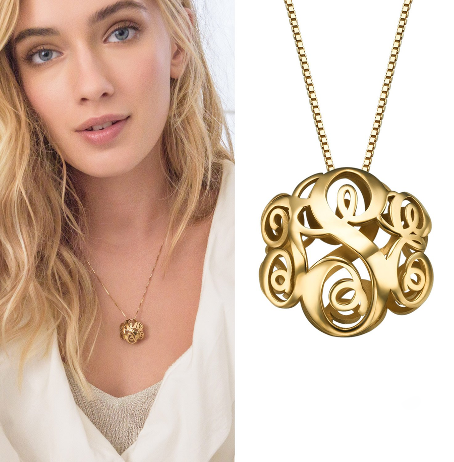 Personalized 3D Hollow Monogram Necklace Custom 3 Initial Pendant