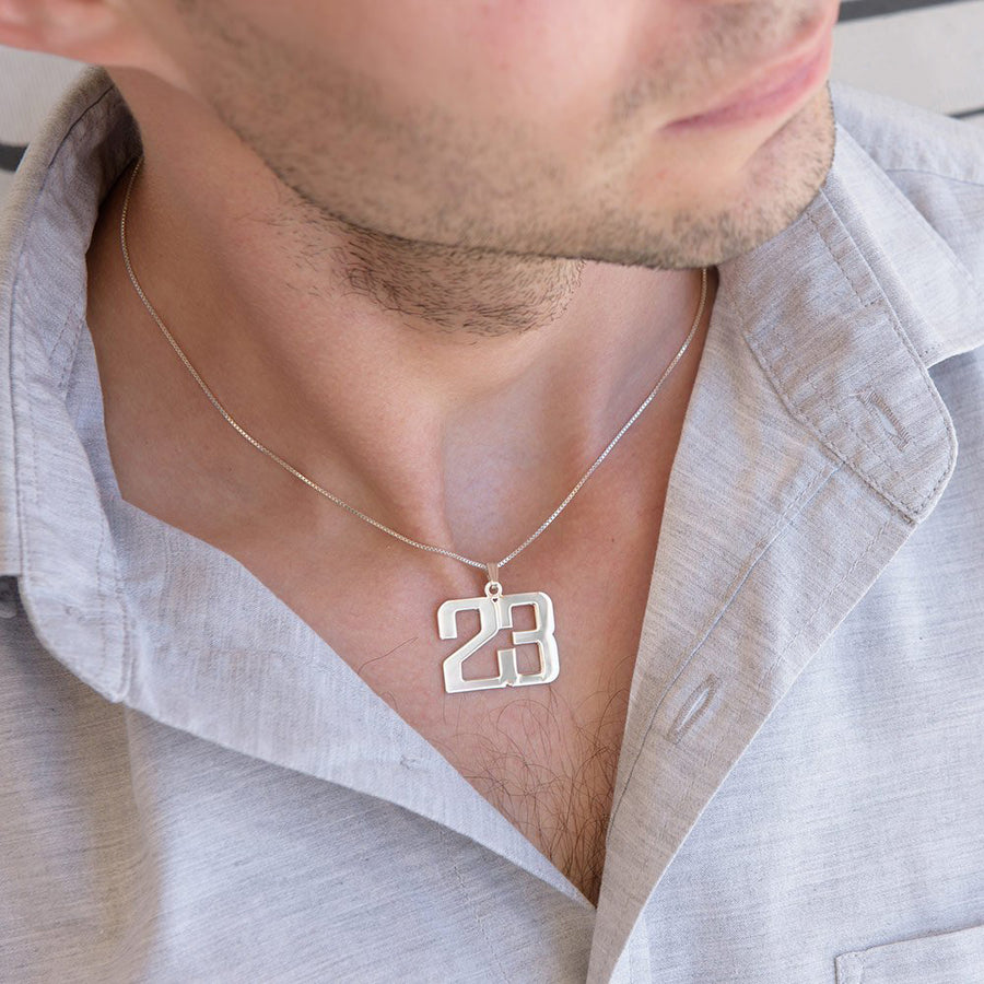 Personalized Jewelry For Men - Silver Number Necklace