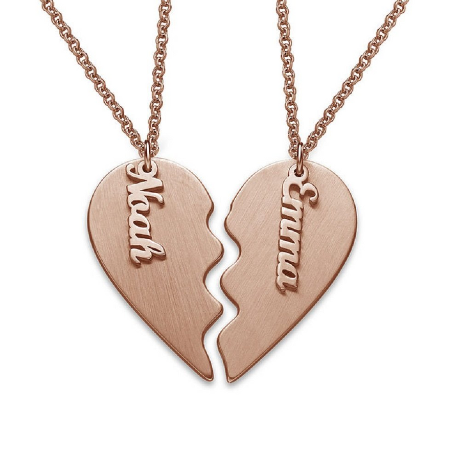 Personalized Broken Heart Necklace Couples Necklace Jewelry