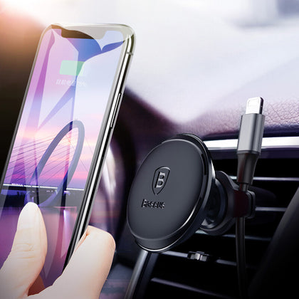 Baseus Magnetic Car Mobile Phone Holder For iPhone & Samsung with Cable Clip - Divinegears