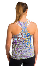 Load image into Gallery viewer, RACERBACK TANK GARDENLATTICE BLUE