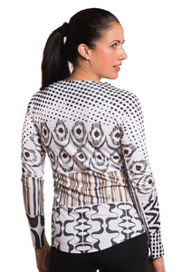 UV ACTIVE SHIRT IKAT BLACKBROWN