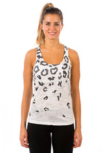 Load image into Gallery viewer, RACERBACK TANK SNOWLEOPARD BLACK