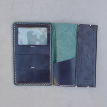 Load image into Gallery viewer, Navy Blue Scorpion and Cactus Traveler Wallet