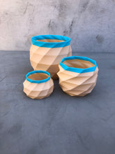 Load image into Gallery viewer, Medium Geometric Succulent Planter in Nude and Blue