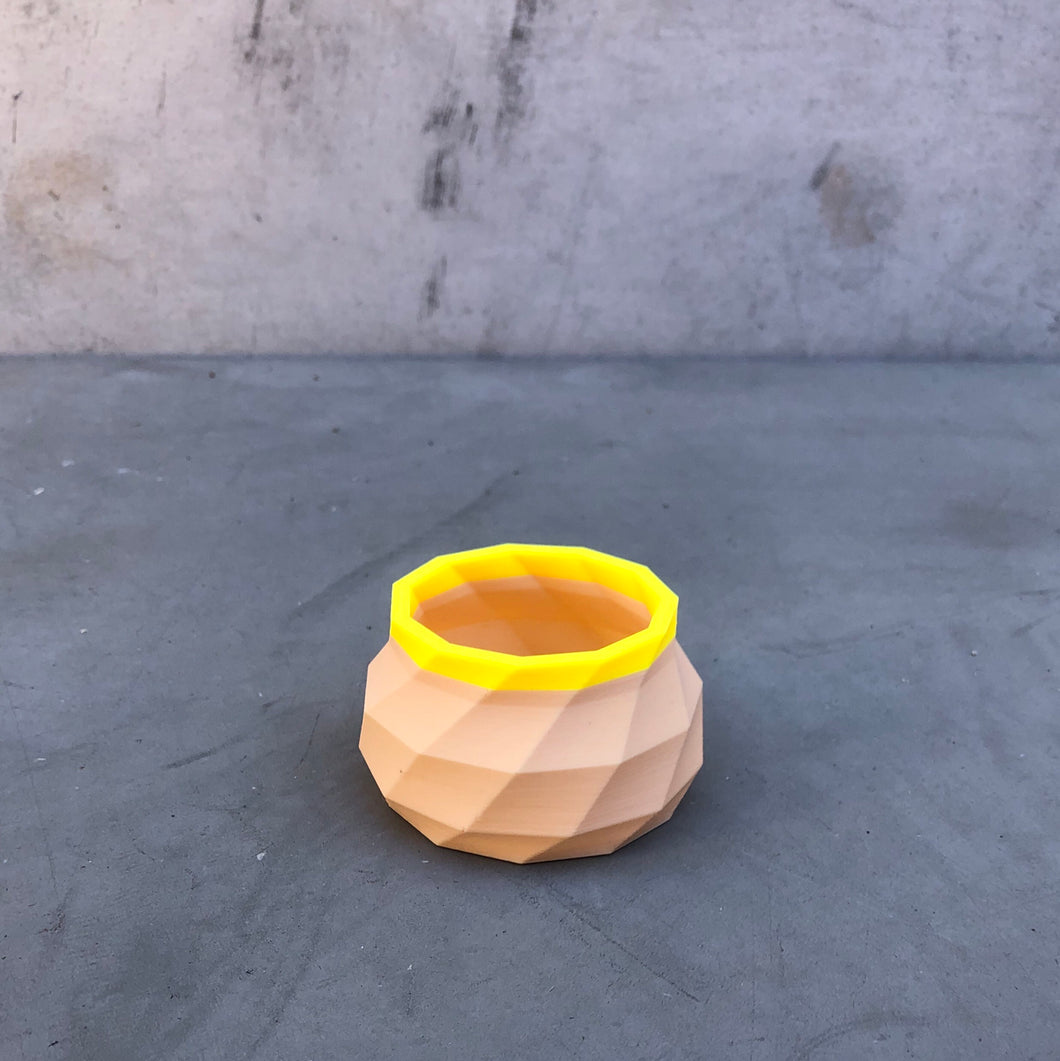 Tiny Geometric Succulent Planter in Nude and Yellow