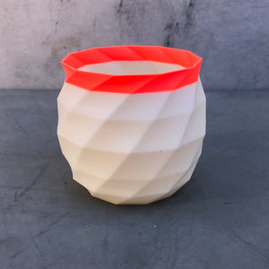 Medium Succulent Planter in Coral and Ivory