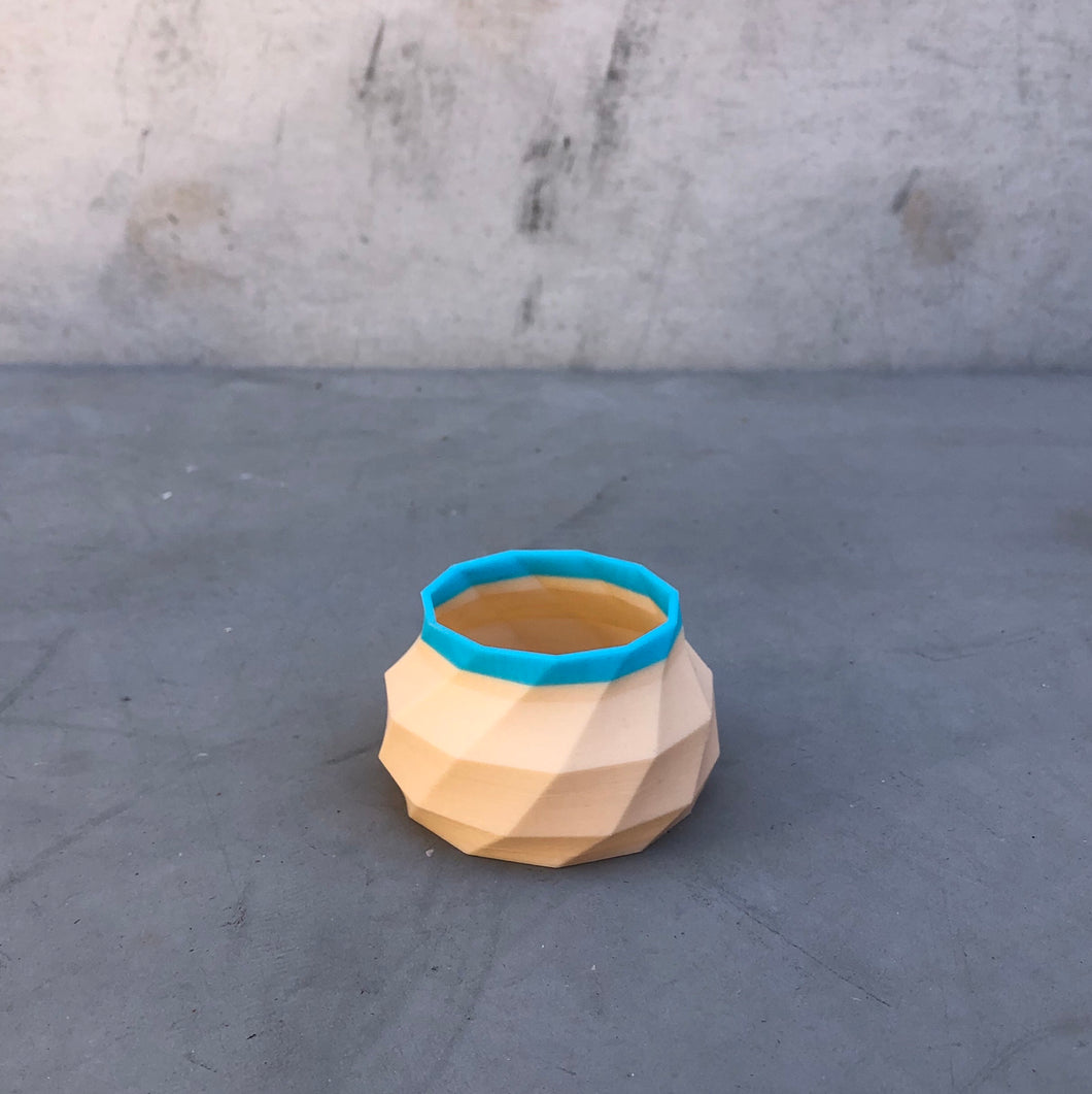 Tiny Geometric Succulent Planter in Nude and Blue