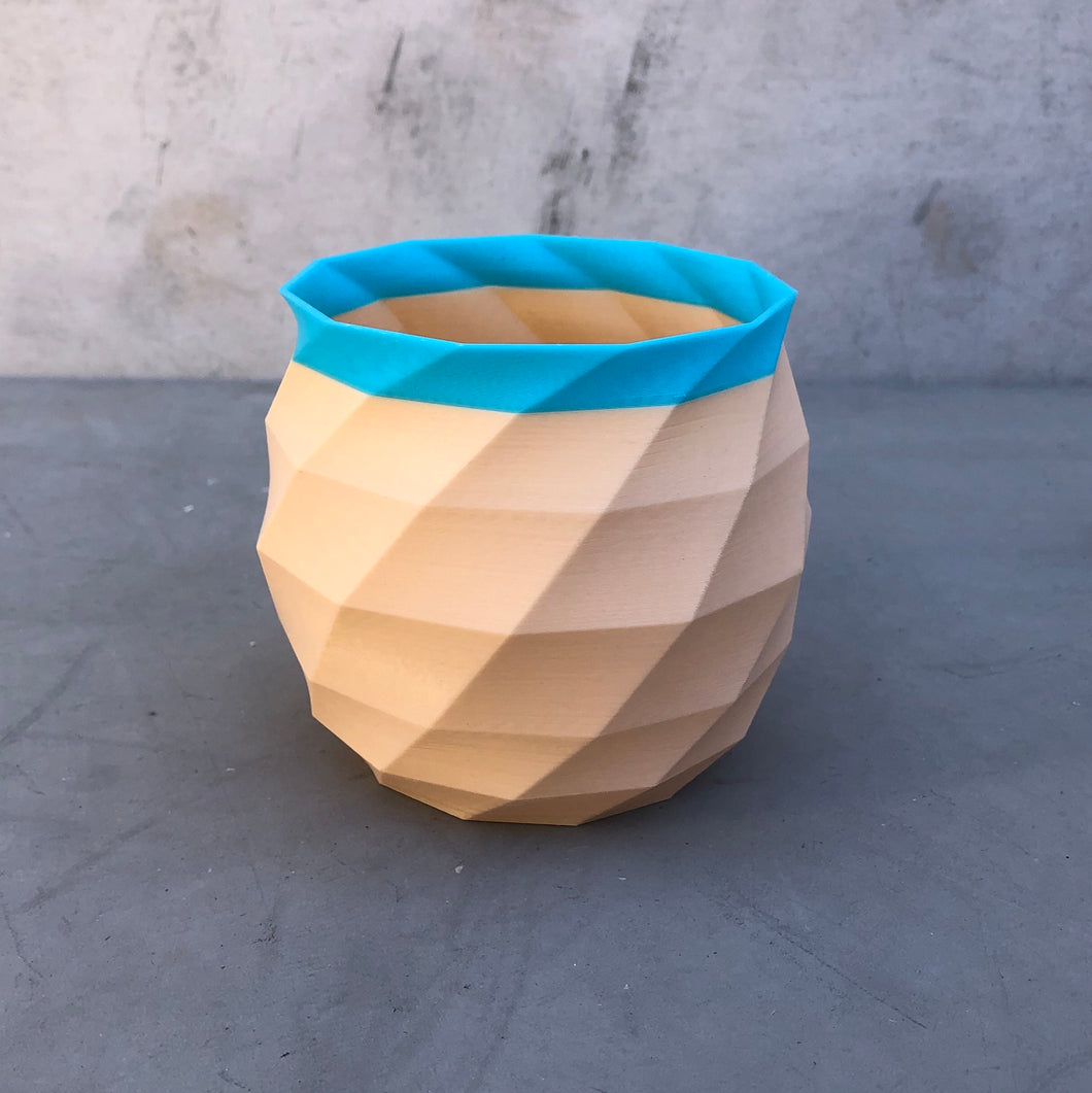 Medium Geometric Succulent Planter in Nude and Blue