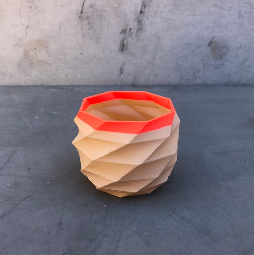 Small Geometric Succulent Planter Coral and Nude