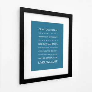 Cornwall Surf Beaches Typographic Travel Print- Coastal Wall Art /Poster-SeaKisses