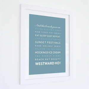 Westward Ho! Typographic Travel Print - Coastal Wall Art /Poster-SeaKisses