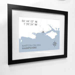 Barton-on-Sea Map Travel Print- Coastal Wall Art /Poster-SeaKisses