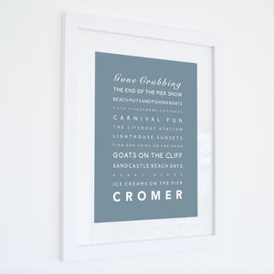 Cromer Typographic Travel Print- Coastal Wall Art /Poster-SeaKisses