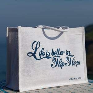 Life is Better in Flip Flops Jute Shoulder Bag - White-SeaKisses