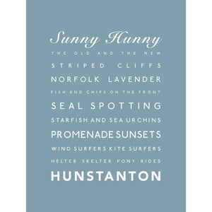Hunstanton Typographic Travel Print- Coastal Wall Art /Poster-SeaKisses